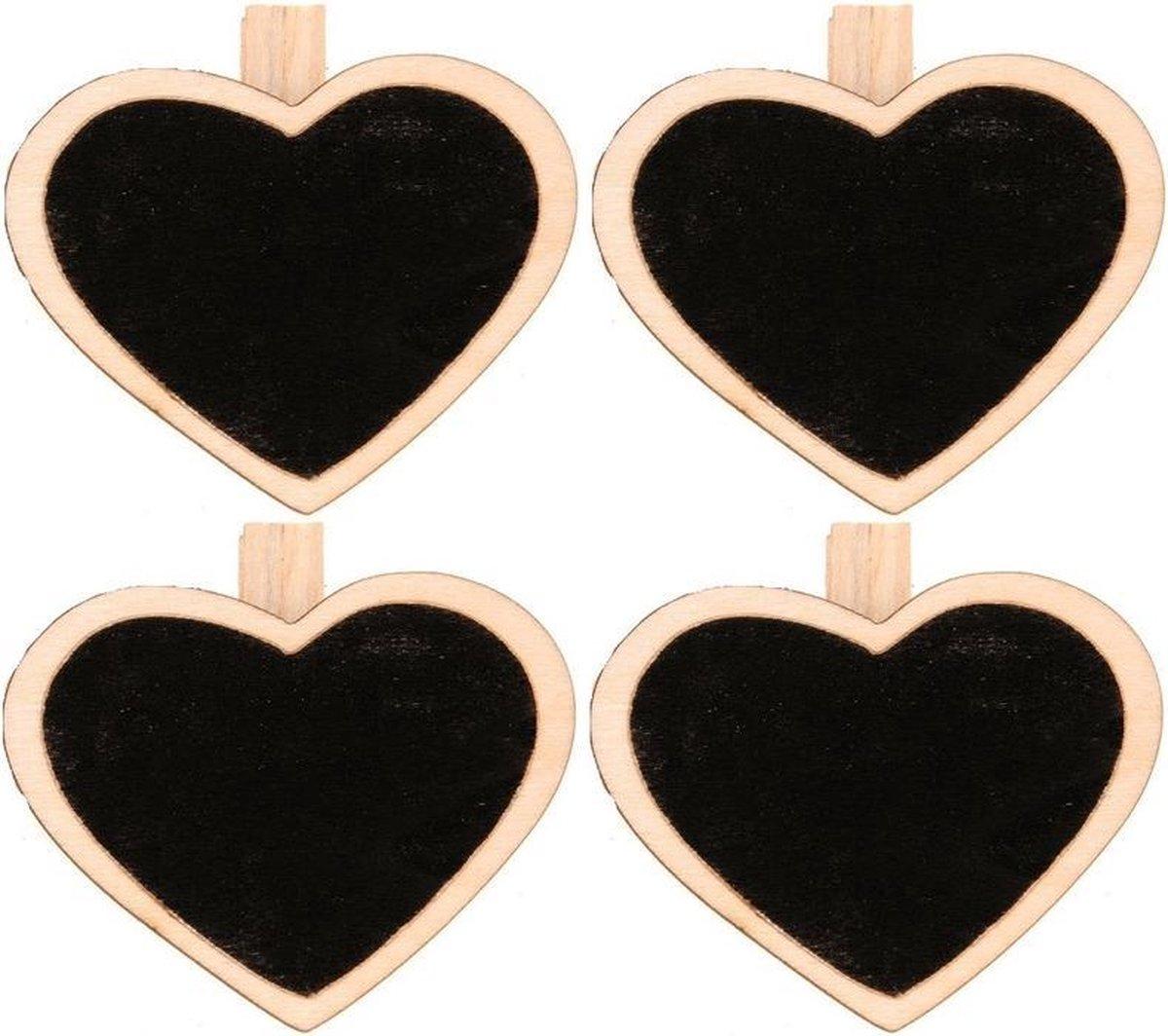 Merkloos / Sans marque 4x Houten mini krijtbordje/schrijfbordje/memobordje hart op knijper 5 cm Hobby/knutselbenodigdheden tekenbord Home deco Woonaccessoires/decoratie online kopen