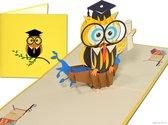 Popcards popupkaarten – Wijze Uil Diploma Graduation Bachelor Master VWO Geslaagd Felicitatie pop-up kaart 3D wenskaart