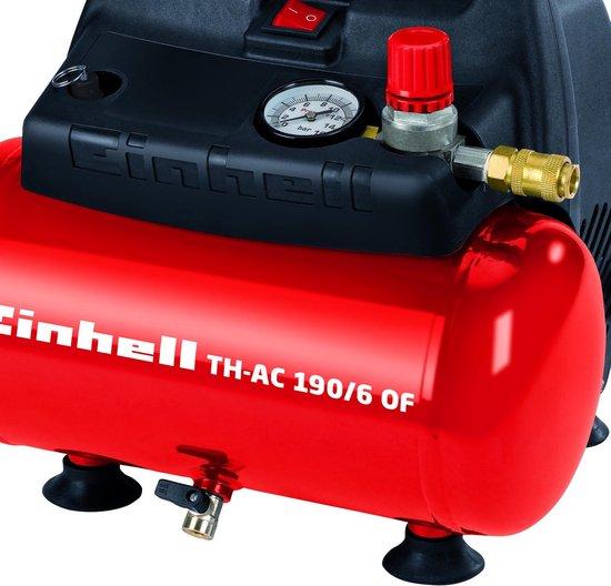Einhell TH-AC 190/6 OF Compressor - 1100 W - 6 L - Max. werkdruk: 8 bar - Olievrij