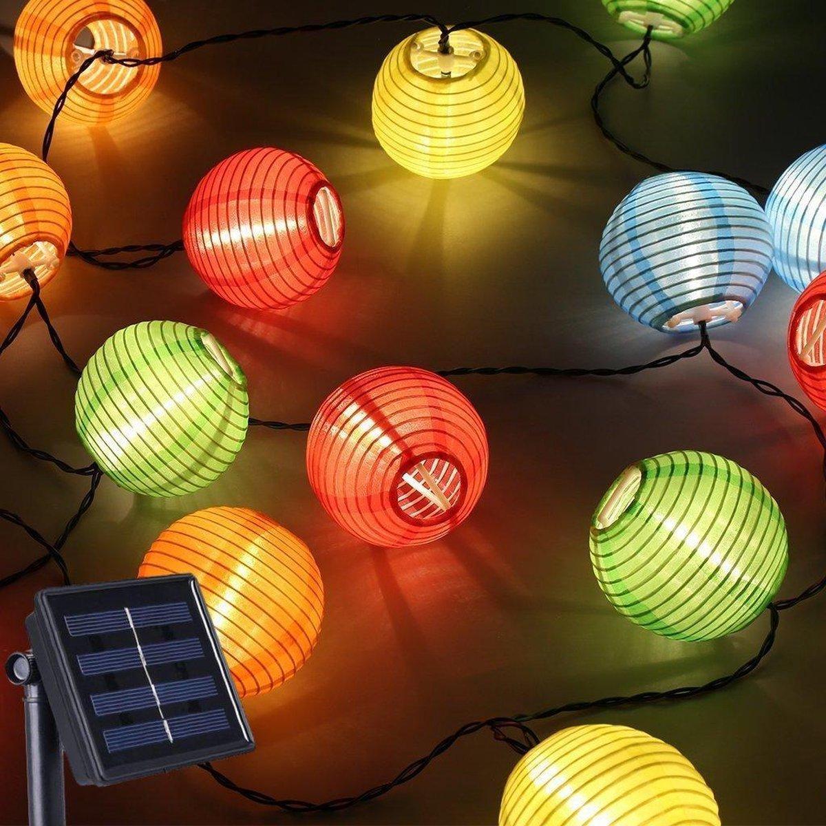 J-Pro Sfeer- en Tuinverlichting op Zonne-Energie - 30 Solar LED 6.5m Lantern Lichtsnoer - Lichtsling