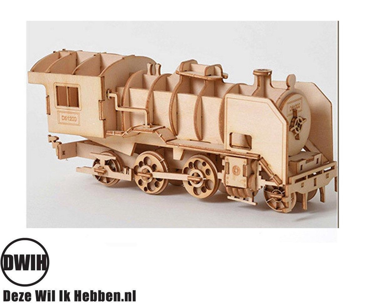 Houten 3D  puzzel Trein - bouwpakket