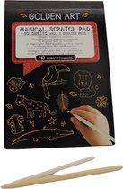 Golden art notitie blok - Designer notitieblok - Notitieblok met gouden kraslaag - schrijf met een houten pen en er wordt geschreven in een goud kleur - Goud schrijven - Zwart schrijfblok - Zwart met goud notitieblok - Schrijf en maak magie mogelijk