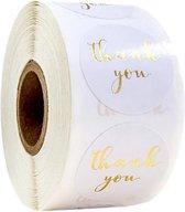 Stickers 'Thank you' - bedrijf stickers - wit - hobby - kaart stickers - stickers - bedankt stickers - trouwerij - bruiloft - goudkleurig - rond - 500 stuks - op rol - bedrijfstickers - hobbystickers - trendy