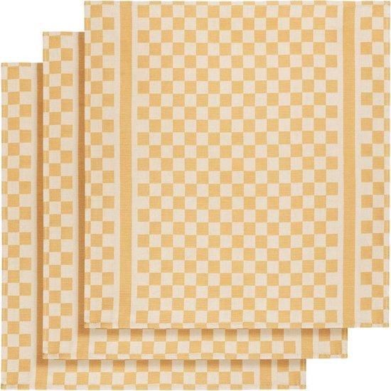 De Witte Lietaer Keukenhanddoek 65x70 Cm Katoen Wit/okergeel 3 Stuks
