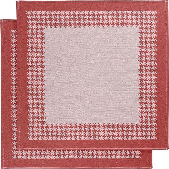 De Witte Lietaer Pied de Poule - Theedoek - 66x66 cm - Set van 2 - Red