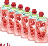 Ajax Allesreiniger Fête des Fleurs Hibiscus 6 x 1L - Voordeelverpakking
