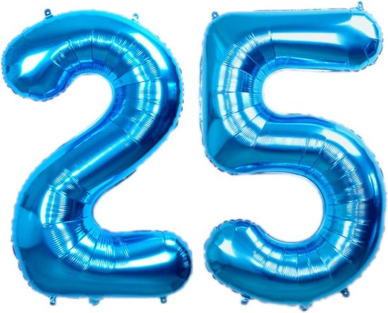 Folie Ballon Cijfer 25 Jaar Blauw 70Cm Verjaardag Folieballon Met Rietje