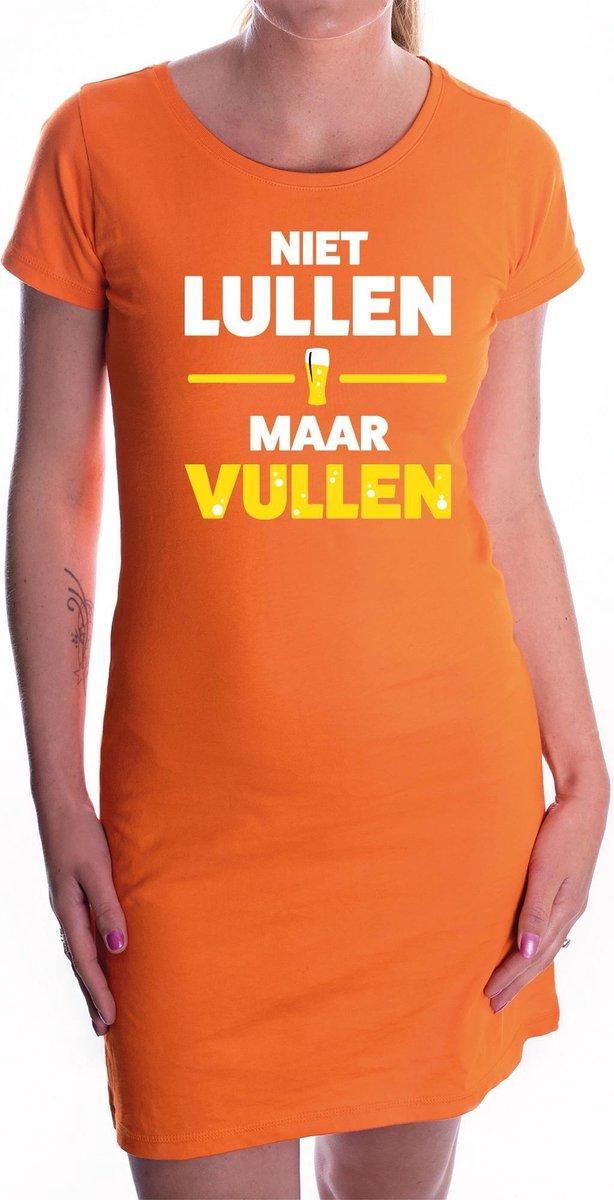 Niet Lullen maar Vullen tekst jurkje oranje dames - oranje kleding / supporter / Koningsdag S
