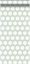 ESTAhome behang kleine stippen mintgroen en wit - 128711