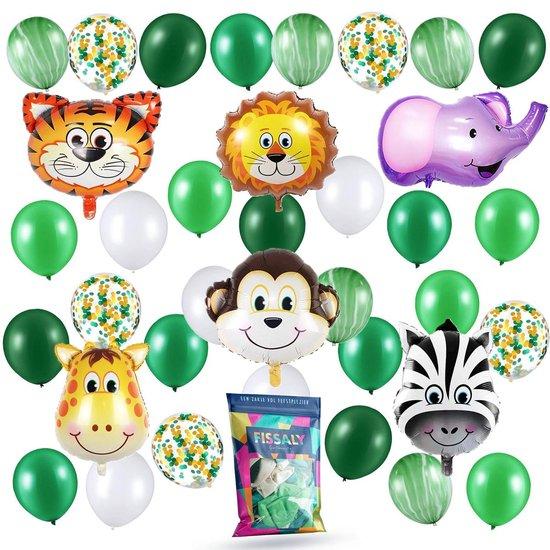 Fissaly® 36 Stuks Jungle Thema Party Verjaardag Versiering Ballonnen - Safari Decoratie Kinderfeestje - Feest