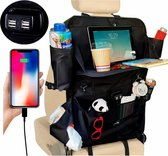 Luxergoods Autostoel Organizer –  Nieuw 2020 Model met 4 USB ports - Auto Organiser Baby's & Kinderen – Tablethouder - Opberging – Georganiseerde Auto – Uitklapbare Tablethouder – Uitklapbare Laptophouder – Autostoel – Organiser – Fleshouder