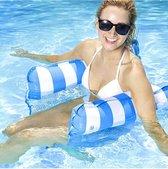 Waterhangmat - Hangmat - Opblaasbare hangmat - Waterspeelgoed - Water Hangmat - Blauw gestreept