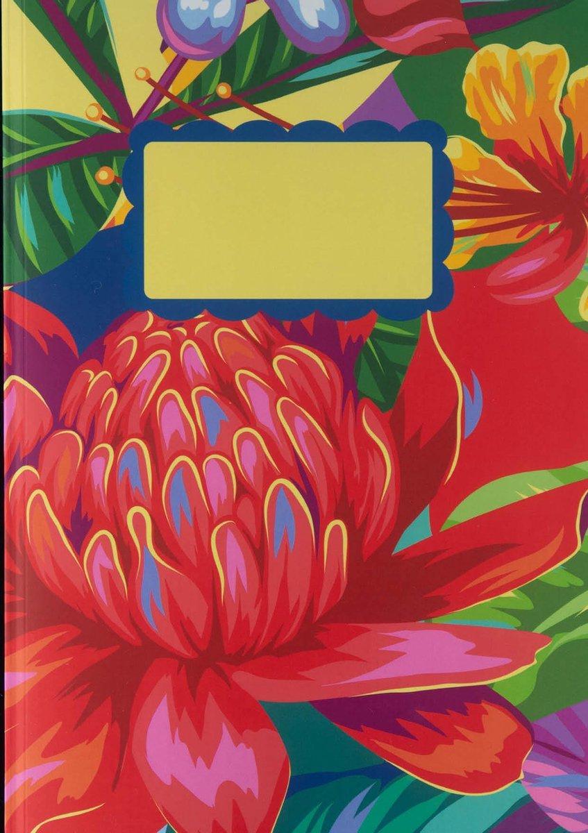 Notitieboek - A4 - Gekleurde Bloemen - Kleurig - Fleurig - Softcover - Elastiek - Rood - Bloemen - Mooie Bloemen - Cadeau