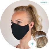 Mondkapjes wasbaar + gratis masker verlenger - Mondmasker - Face Mask - Gezichtsmasker - Gezichtsbescherming - niet medisch - herbruikbaar - met elastiek - ecologisch - 3-laags - volwassenen - zwart