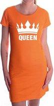 Queen met witte kroon jurk oranje voor dames - Koningsdag - supporters kleding / oranje jurkjes S