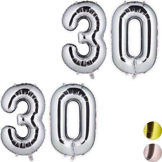 relaxdays 2x folie ballon cijfer 30 - XXL cijferballon - getal - verjaardag - zilver