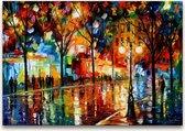 Handgeschilderd schilderij Olieverf op Canvas - Leonid Afremov 'Winkelstraat'