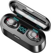 F9 Wireless Bluetooth 5.0 Earbuds - Volledig Draadloos In-Ear Oordopjes met Oplaadcase - Siliconen Oortjes - Met Microfoon L+R - Universeel Apple/Samsung/Android/iPhone/iPad/Tablet - Waterproof - Sport en Hardlopen - Powerbank - Zwart