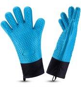 Hittebestendige Barbecue Handschoenen – Tot 230℃ Hoogwaardige Silicone BBQ Handschoenen – 2 Stuks – FDA Goedgekeurd – BPA Vrij – Ovenhandschoenen – Ovenwanten – Blauw