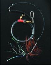 Zeevis Pilk en Lift onderlijn zwart vliegje maat 3/0, 10 x 1 stuks