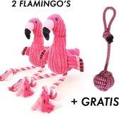2 x Flamingo Hondenspeelgoed + Gratis honden touw (30cm) - Speeltje - Hondenspeeltjes - Roze - Zeer geschikt om uw hond bezig te houden
