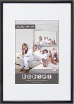 Halfronde Aluminuim Wissellijst - Fotolijst - 70x70 cm - Helder Glas - Hoogglans Zwart - 10 mm