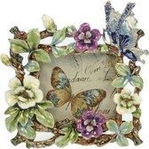 Fotolijstje Veelkleurig met bloemen en een vlinder - foto 6,3 x 6,3 cm.