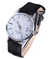 Stijlvol heren horloge - datumaanduiding - leren band - zwart - 40 mm - I-deLuxe verpakking