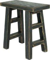 Houten krukje zwart vintage / halbankje van hout / zwart krukje - 50 cm