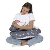 Voedingskussen Baby - Afneembare Hoes - Borstvoedingskussen - Grijs/Wit - Paardenbloem