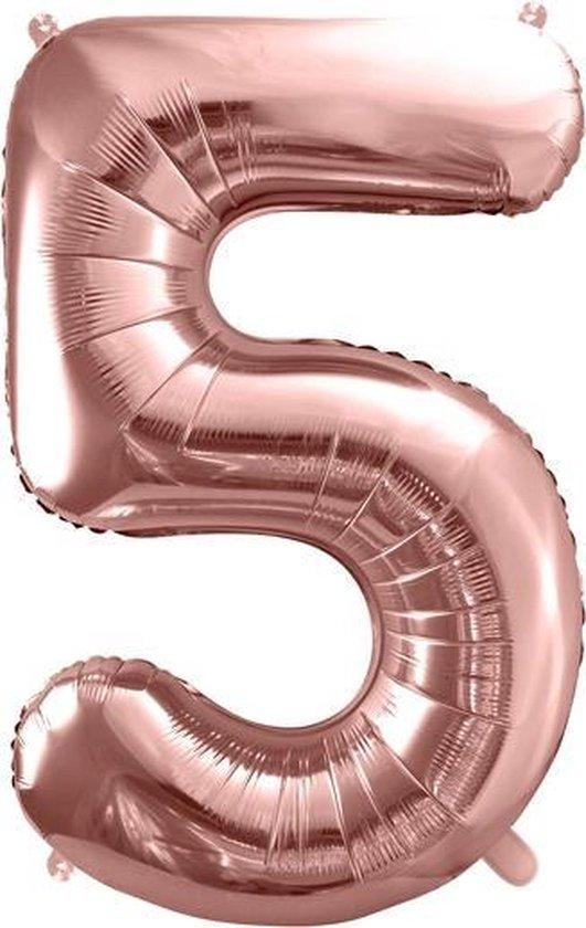 Folieballon Cijfer 5 – 5 Jaar – 86cm Groot – Rosé Goud - Verjaardag Versiering