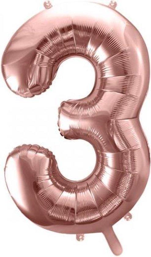 Folieballon Cijfer 3 – 3 Jaar – 86cm Groot – Rosé Goud - Verjaardag Versiering