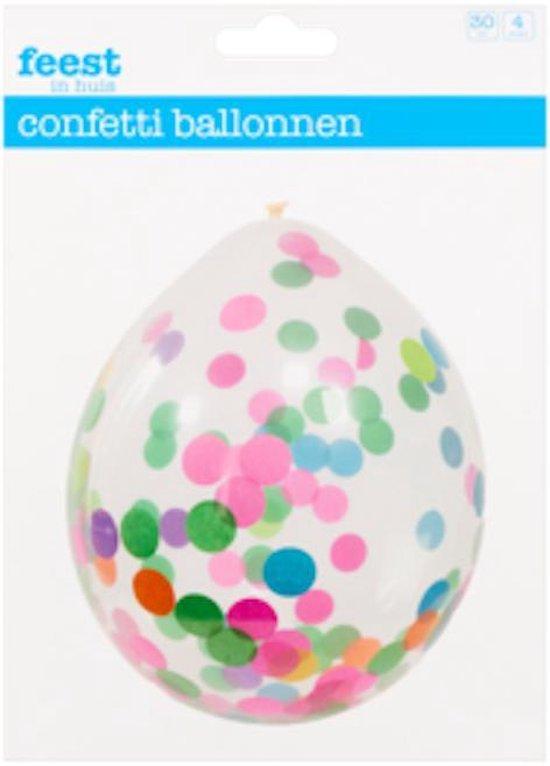 Confetti ballonnen - 4 stuks - transparant met bonte confetti - 30 cm