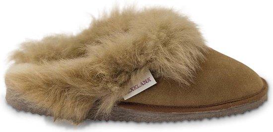 Texelana sloffen en pantoffels voor dames & heren - pantoffel / instapper / slipper van schapenvacht met bontrand - model Reina - maat 40