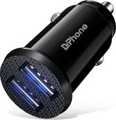 DrPhone ® Invisible 5V 2.4A USB Auto Oplader voor Mobiele Telefoon Tablet GPS Fast Charger Mini Auto Opladen Dual USB - Universeel