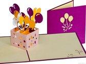 Popcards popupkaarten - Box met vrolijke Ballonnen Verjaardag Felicitatie pop-up kaart 3D wenskaart