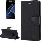 GOOSPERY CANVAS DAGBOEK voor Samsung Galaxy S7 canvas textuur horizontale flip lederen tas met kaartsleuven en portemonnee en houder (zwart)