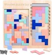 Tetris Vormen Puzzel - Houten Blokjes Tangram - Educatief Spel 4 jaar - Ruimtelijk Speelgoed Jong en Oud Kleurrijk Veilig - WoodyDoody