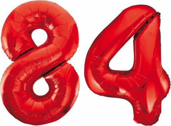 Folieballon 84 jaar rood 86cm