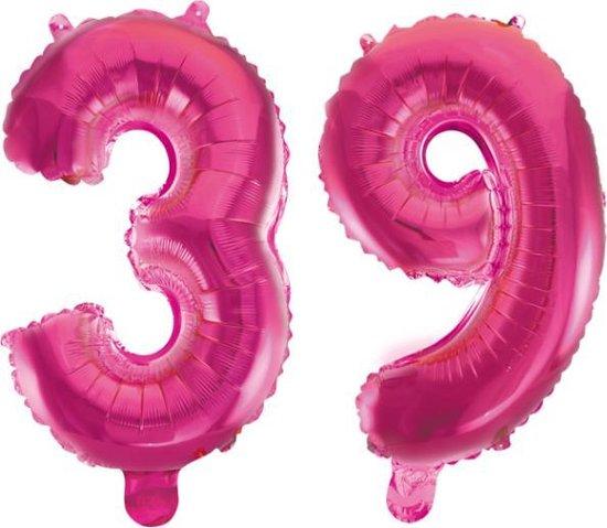 Folieballon 39 jaar roze 86cm