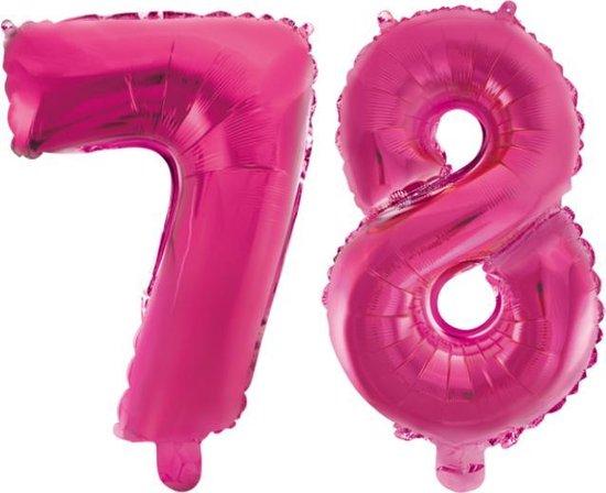 Folieballon 78 jaar roze 86cm