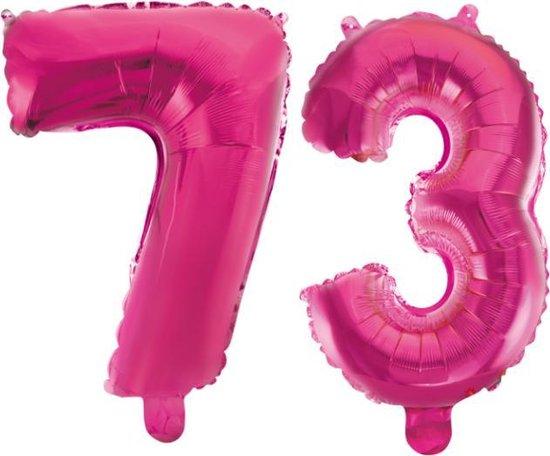 Folieballon 73 jaar roze 41cm