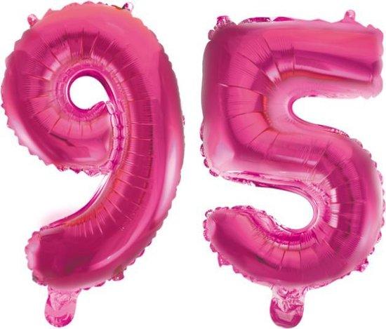 Folieballon 95 jaar roze 41cm