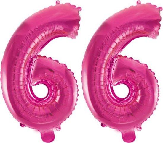 Folieballon 66 jaar roze 86cm