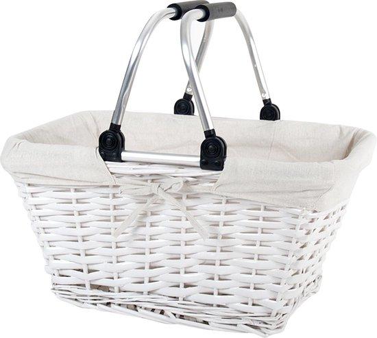 Picknickmand – Rieten Mand – Boodschappenmand – Opbergmand – 45x31x21/36CM – Wit