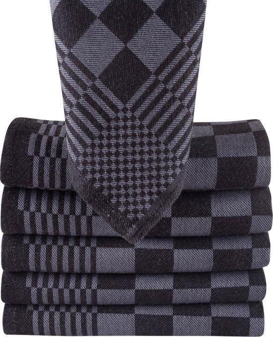Blokdoeken - Pompdoeken - Theedoeken antraciet / zwart - set van 6 stuks - 65x65cm