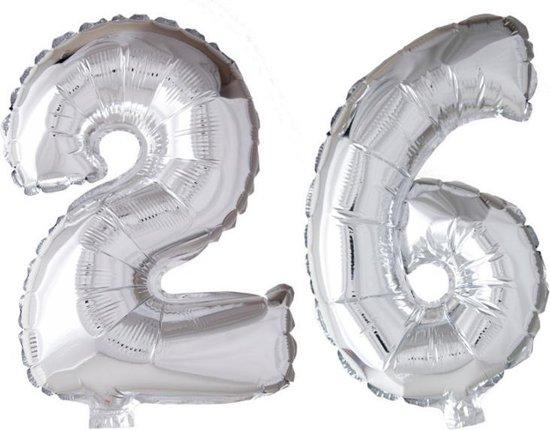 Folieballon 26 jaar zilver 41cm