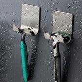 Set van 4x Scheermeshouder douche - RVS haakjes badkamer zelfklevend - Haakjes voor handdoeken - Universele Haakjes - Haakjes voor Stekkers - Waterproof - Multifunctioneel - RVS -  Boren niet nodig!