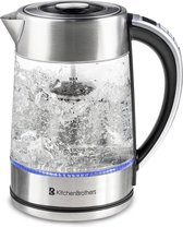 -KitchenBrothers Elektrische Waterkoker - Inclusief Theefilter - Glas - 17 Liter - Blauw LED Licht-aanbieding