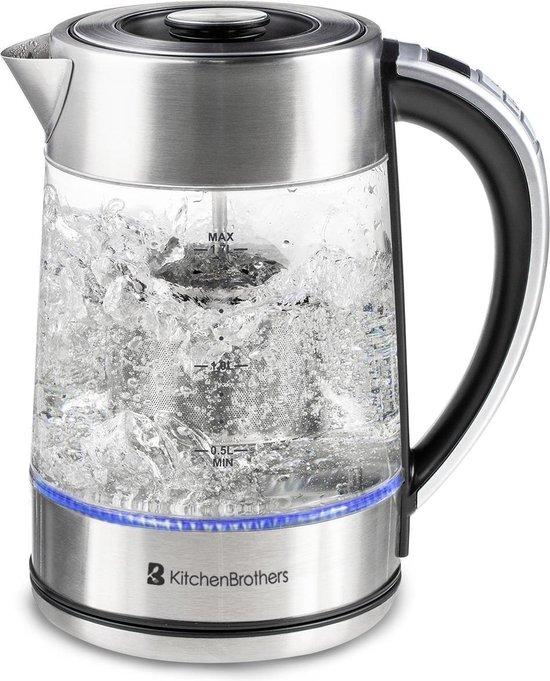 KitchenBrothers Glazen Waterkoker met Theemaker - 1,7 Liter